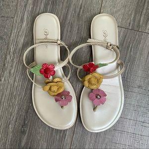 Brighton Flower Leather Sandal Flip Flop Ankle 8.5